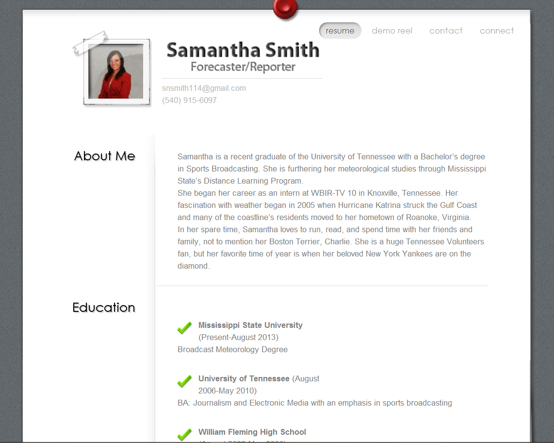 samantha n smith resume - Meteorologist Resume